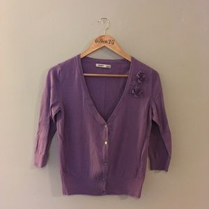 Purple Flower Accent Cropped Cardigan